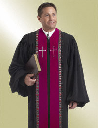 Men's Clergy Robe RT Wesley H-179 - Black/Scarlet