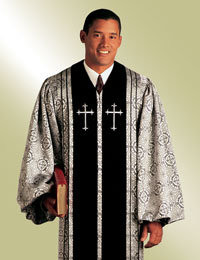 Murphy Men's Robe Bishop H-55 - Silver/Black Brocade