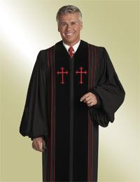 Men's Clergy Pulpit Robe Bishop H-4 - Black/Red Velvet