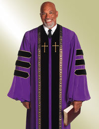 Men's Clergy Robe RT Wesley H-158 - Purple/Black Velvet w/ Doctor Bars