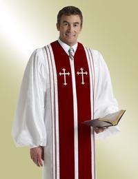 Murphy Men's Robe Bishop H-52 - White/Red Brocade