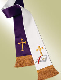 Reversible Wedding Stole:  Purple - Latin Crosses White - Traditional Wedding Symbol