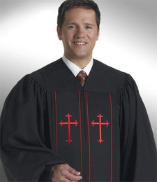 Black/Red Men's & Women's Cleric Pulpit Robe