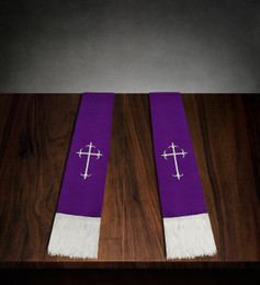 Clergy Stole Purple Satin with White Cross