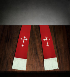 Clergy Stole Red Satin with White Cross