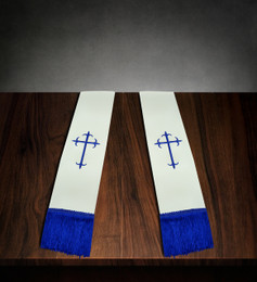 Clergy Stole White Satin with Royal Blue Cross