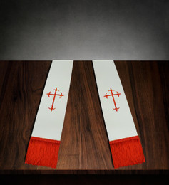 Clergy Stole White Satin with Red Cross