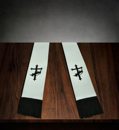 Clergy Stole White Satin with Black Cross/Crown