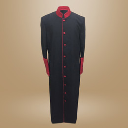 Clergy Cassock in Solid Black and Red Satin Cuffs