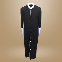 Clergy Cassock in Solid Black and White Satin Cuffs