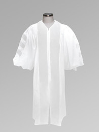 Dr. of Divinity Clergy Pulpit Robe - White w/ Doctor Bars
