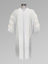 Dr. of Divinity Clergy Pulpit Robe - White w/ White & Gold Doctor Bars