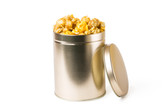 Our One Quart Tin can fit approximately 4 cups of your favorite popcorn! The price here is for Da'Mix. It comes heat sealed and can be personalized with label at no extra charge. It's definitely sharp and a great gift or favor.