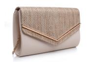 Bessie London Envelope Clutch Bag - Beige Metalic (BC1007-BEIGE)