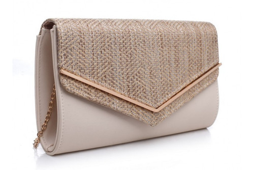 Bessie London Envelope Clutch Bag - Beige Metalic (BC1007-BEIGE)
