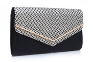 Bessie London Envelope Clutch Bag - Black/White (BC1007-BLACK-WHITE)