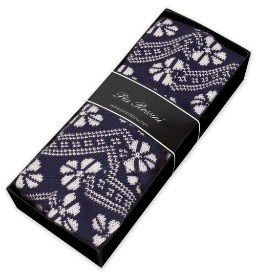 Nordic Pattern Knitted Socks in Navy shown in gift box