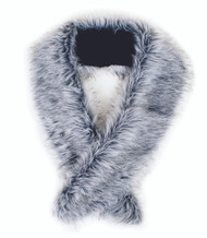 Long Silver Grey Faux Fur Scarf