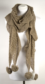 Mink Mohair Feel Scarf with Pom Poms