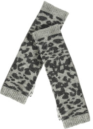 Grey Black Lambswool Animal Pattern Fingerless Gloves