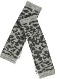 Grey Black Lambswool Animal Pattern Fingerless Gloves