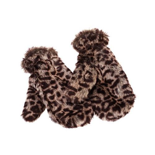 Leopard Design Faux Fur Mitten Gloves
