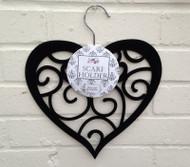 Black Flocked Heart Hanger
