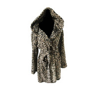 Brown Animal Print Hooded Robe