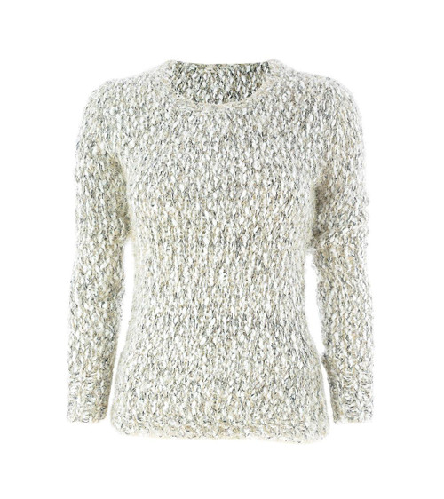 Lurex Chunky Tinsel Knit Jumper in Gold/Black