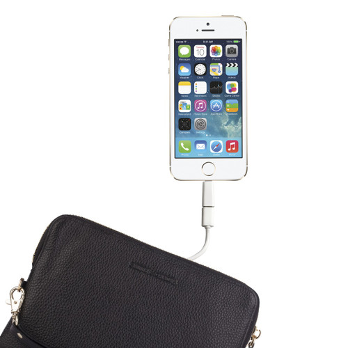 Leather Mighty Charging Clutch Purse Bag in Black