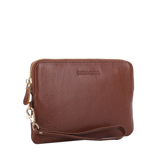 Mighty Charging Leather Power Clutch Bag Purse - Brown