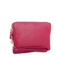 Mighty Charging Leather Power Clutch Bag Purse - Fuchsia Pink