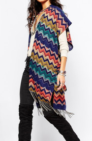 Colour Zig Zag Pattern Poncho Wrap (31289XA-BRIGH)