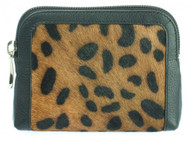 Ladies Leather Trim Animal Print Coin Purse (75044-black)