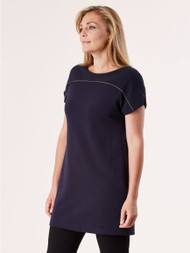 Madeleine Rib Jersey Tunic with Metalic Trim - Navy (700300029)