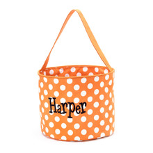 Personalized Halloween Bucket Bag in Orange Polka Dot