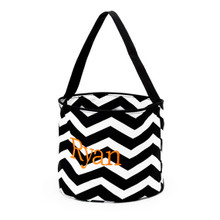 Personalized Halloween Bucket Bag in Black Chevron