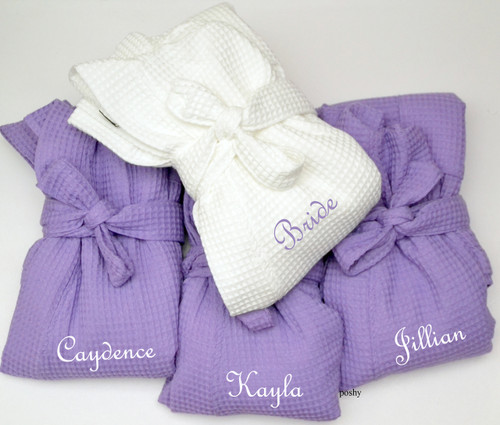 Personalized Spa Robe Wedding Bridesmaids With Name Monogrammed Purple