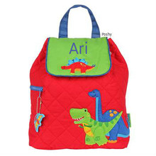 Personalized Kids Quilted Backpacks or Custom Diaper Bags Dino Red