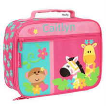 Monogrammed Kids Lunch Box in Zoo Girl
