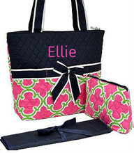 Personalized Diaper Bags Geometric Rint Print in PINK and NAVY 3 PIECE