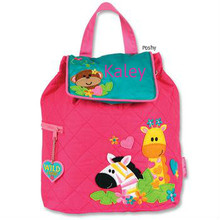 Personalized Kids Quilted Kids Backpacks or Custom Diaper Bags Zoo Girl