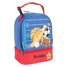 Monogrammed Kids Lunch Boxes in Sports Pals