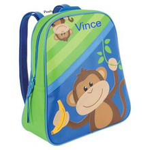Monogrammed Kids Backpacks GoGo NEW striped Monkey- Kids Bags