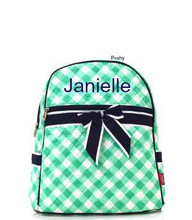 Personalized Kids Backpacks Mint and Navy Gingham
