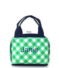 Mint Gingham Printed Personalized Kid Lunch Boxes