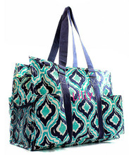 Personalized Diaper Bags in Ikat Canvas Teal and White