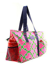 Personalized Diaper Bags in Geometric Canvas Pink and Green