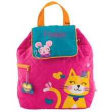 Personalized Kids Quilted Kids Bags or Custom Diaper Bags Cat Pink