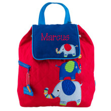 Personalized Kids Quilted Backpacks or Custom Diaper Elephant BOY